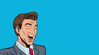 Pop art happy businessman with hand peace symbol High definition animation colorful scenes