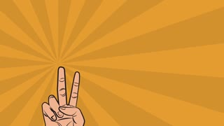 Pop art Yeah phrase with peace hand symbol over orange background High definition animation colorful scenes