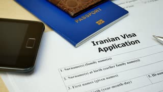 Iranian Visa application form to travel or immigration. Document with passport, apply and permission for foreigner country