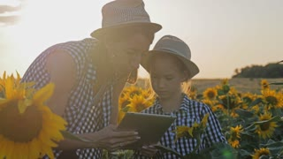 A family farmer with a tablet in the field. Pretty female farmer and her beautiful daughter talk about sunflower in the field. Farming concept.