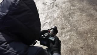 A professional photographer adjusts the camera before shooting.