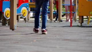 Active children playing on a playground