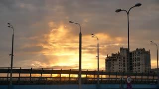 Beautiful and dramatic sunset city road traffic