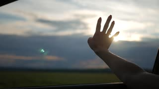 Beautiful girl holding arm out of car window friend enjoying road at sun.