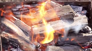 Bright fire smoke and firewood close up. Warm fireplace with lots of trees ready for barbecue.