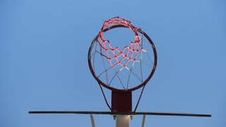 Close up of a Basketball hoop at outdoor.
