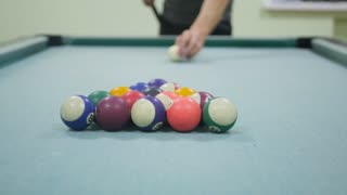 Colorful billiards balls. Billiard ball at green table. Colorful American pool snooker balls background.