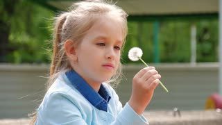 Cute little girl blow on a dandelion. The girl is 6 years old playing with dandelions. Rest at nature. Slow motion.