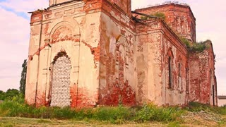 Destroyed Church in Russia. Old Russian Christian rural cathedral under reconstruction.
