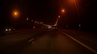 driving by car, night road and cars
