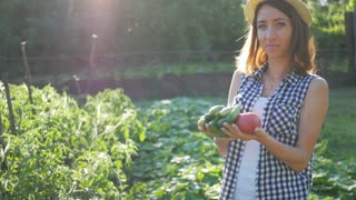Farmer girl with vegetables crop in the kitchen garden. Harvest time. Family farmers. The concept of organic food.