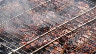 Grilling barbecue meat on wood coal. Man cooks appetizing hot shish kebab on metal skewers. Tasty meat pieces with crust. Grilling food. Closeup