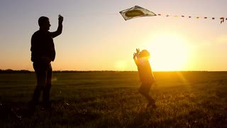 happy family father and baby daughter launch a kite on meadow