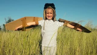 Happy kid playing. Child having fun outdoors. Kid with cardboard wings. Child in summer field. Pretending to be a pilot for a craft, imagination or exploration concept.