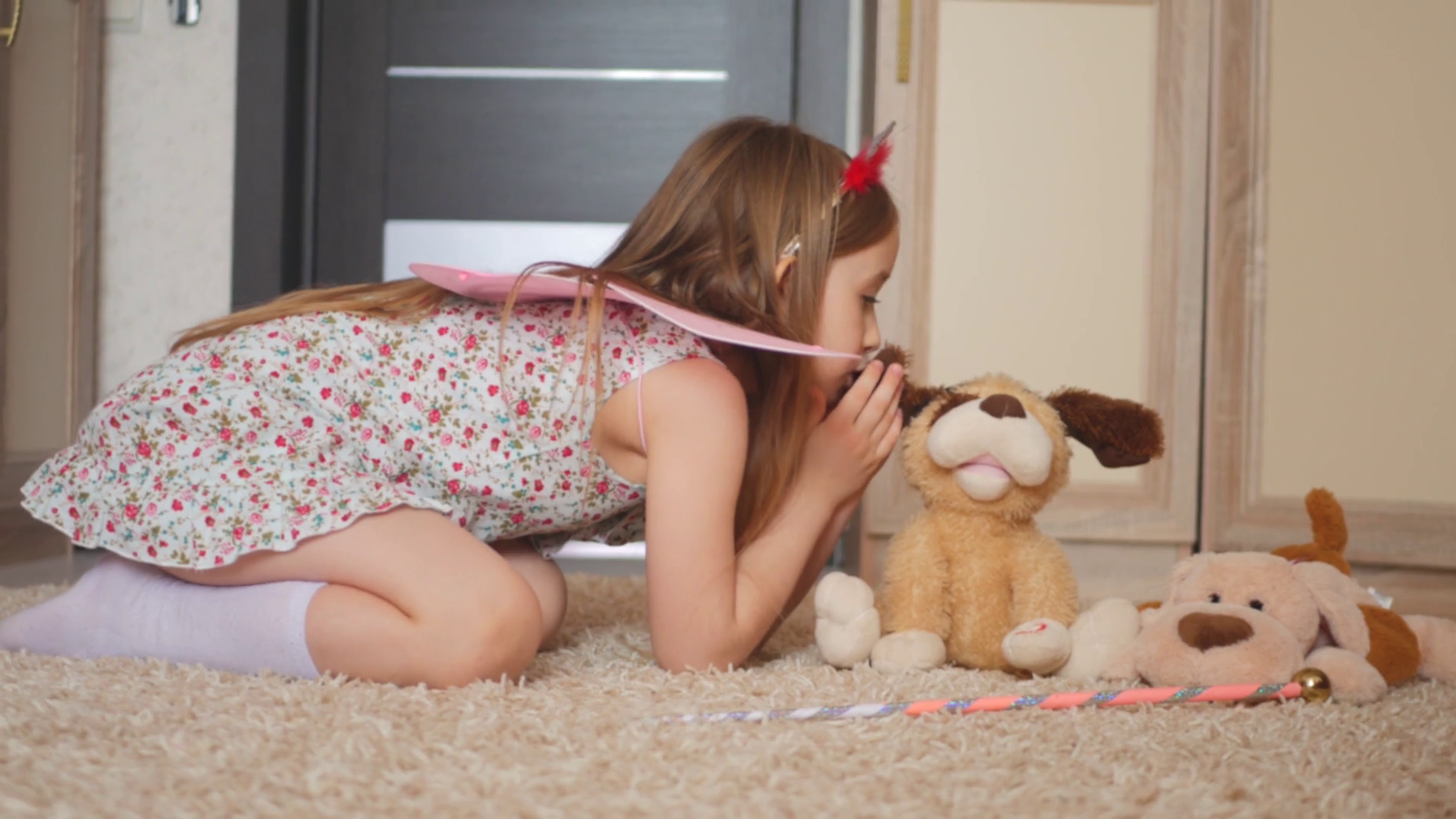 Happy Little Girl Plays with Plush Toys in Her Room. Stock Video Footage - Storyblocks