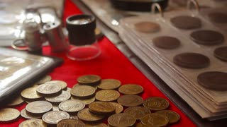 Heap coins stair on table. Coins make difference step to step for save money .