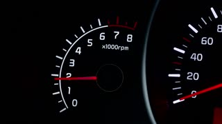 Indications car tachometer, engine speed.
