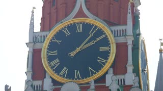 Kremlin chiming clock on the Spasskaya Tower. Moscow. Russia.