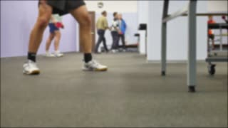 legs to jump, man to play table tennis