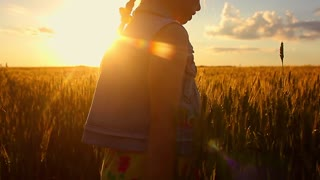 Little girl to wave hands on meadow with sunset. Happy pretty girl in field at sunset.