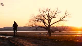 Man running on the sunset