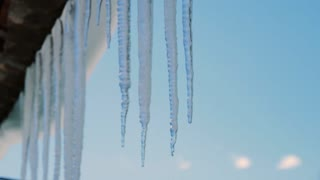 melting icicle and dripping water