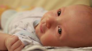 newborn baby looks at the camera, beautiful looking baby