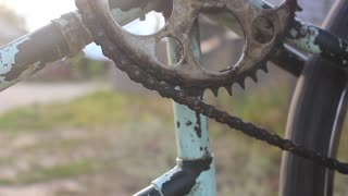 Old rusty bicycle detail