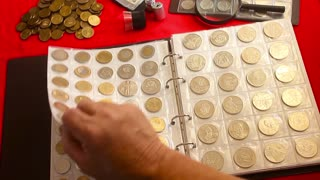 Page of numismatics album with different coins isolated. Coin album collection from different countries. Consider coins under a magnifying glass. Hobby collecting coins.