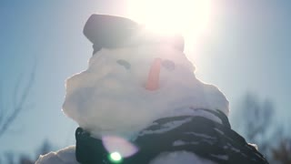 Snowman in landscape with scarf and carrot for nose