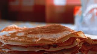 Stack of kefir pancakes traditional for Russian pancake week