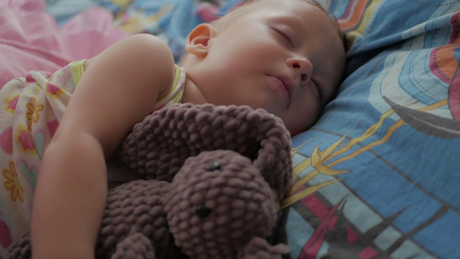 Sweet Baby Boy Sleeping With Teddy Bear Stock Video Footage Storyblocks