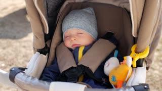 Sweet little baby boy sleeping in stroller.
