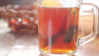 Tea bag in glass mug