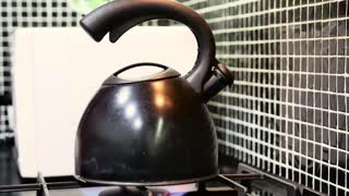 Tea kettle boils on gas stove