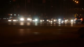 Timelapse of night traffic in highway at city. 4K
