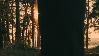 Two athletes running around in the woods. Group of people engaged in sports. Beautiful forest, sun rays through trees, golden sunset. The concept of sport and healthy lifestyle. Slow motion.