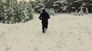 Young man jogging in the winter forest covered with snow. Man running in the winter forest.