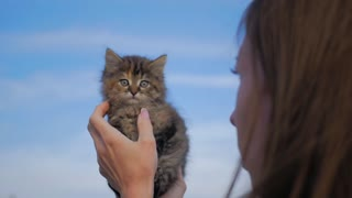 Young woman playing with her kitten, human-animal relationships.