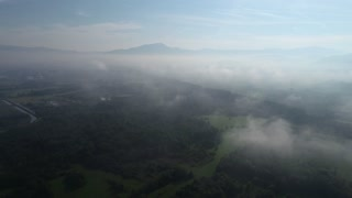 aerial flying above cloud on fresh morning