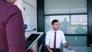 Business Meeting Team Leader Presenting Crowdsourcing Plan for company