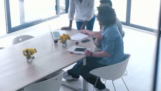 Business People Talking In Bright startup Office