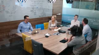 Business Start-Up Meeting In A Modern Office Happy Beautiful Young People