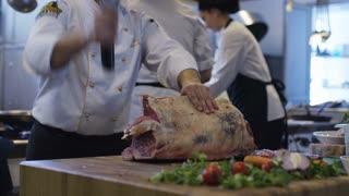 Butcher Cutting Cuts Of Red Meat
