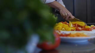 Chef Chopping Vegetables Food Prep Kitchen Restaurant Culinary