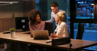 Creative Business Team Meeting Happy People Working In Modern Office Late At night