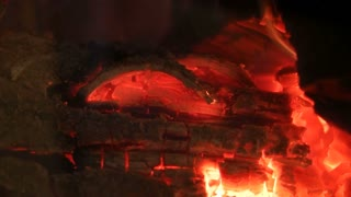 Fire In Fireplace Or Stove - Close Up Of Burning Wood