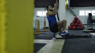 Fitness Rope Climb Exercise In Fitness Gym Workout