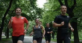Group Of Runners Jogging Together