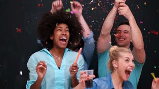 Multi-Colored Mixed Race Group People Confetti Shower Slow Motion